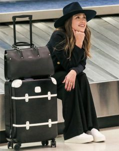Jessica Alba carrying the new Longchamp Paris Premier bag